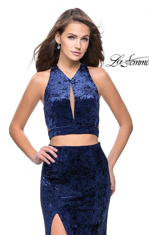 Picture of: Long Velvet Prom Dress with Crop Top and Leg Slit in Navy, Style: 25500, Detail Picture 6