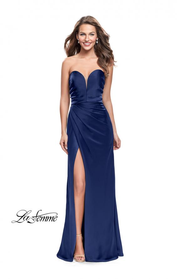 Picture of: Long Strapless Satin Prom Dress with Side Ruching, Style: 26017, Detail Picture 6