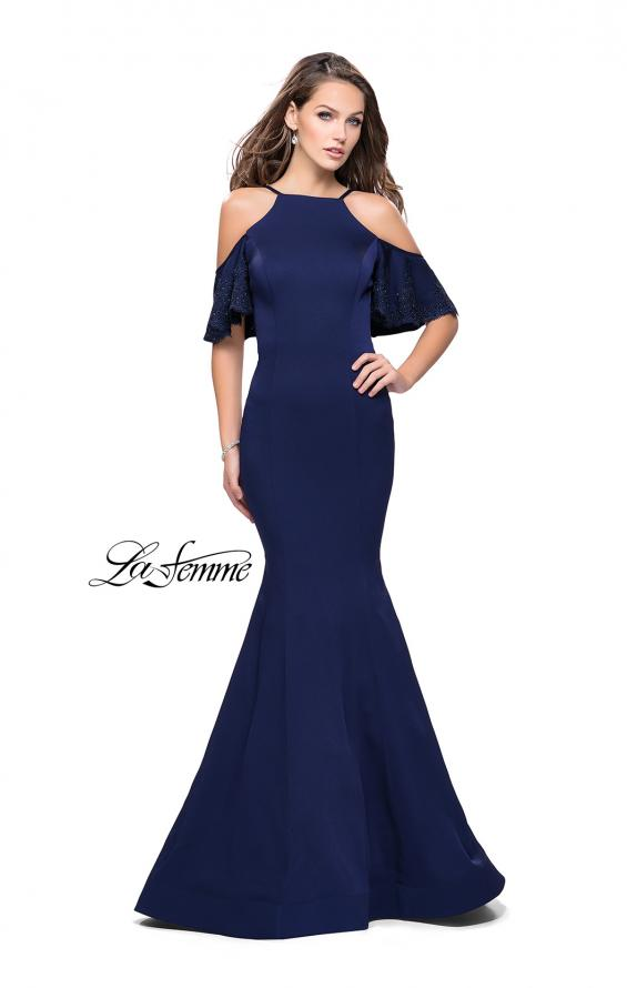 Picture of: Form Fitting Satin Mermaid Dress with Shoulder Cutouts in Navy, Style: 26145, Detail Picture 6
