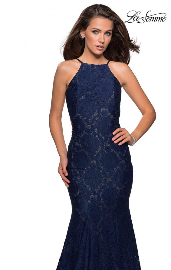 Picture of: Long Lace Prom Dress with High Neckline in Navy, Style: 27289, Detail Picture 6
