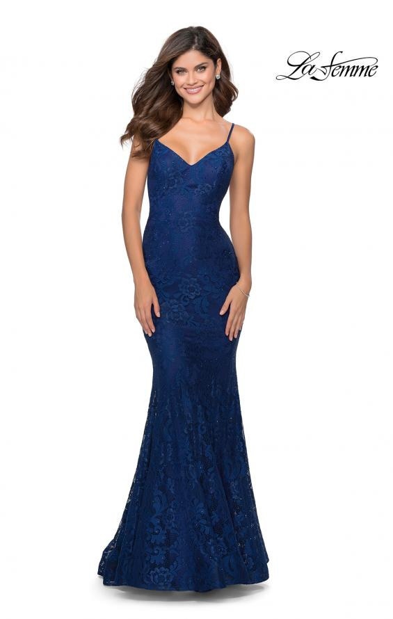 Picture of: Long Mermaid Lace Prom Dress with V Shaped Neckline in Navy, Style: 28504, Detail Picture 6