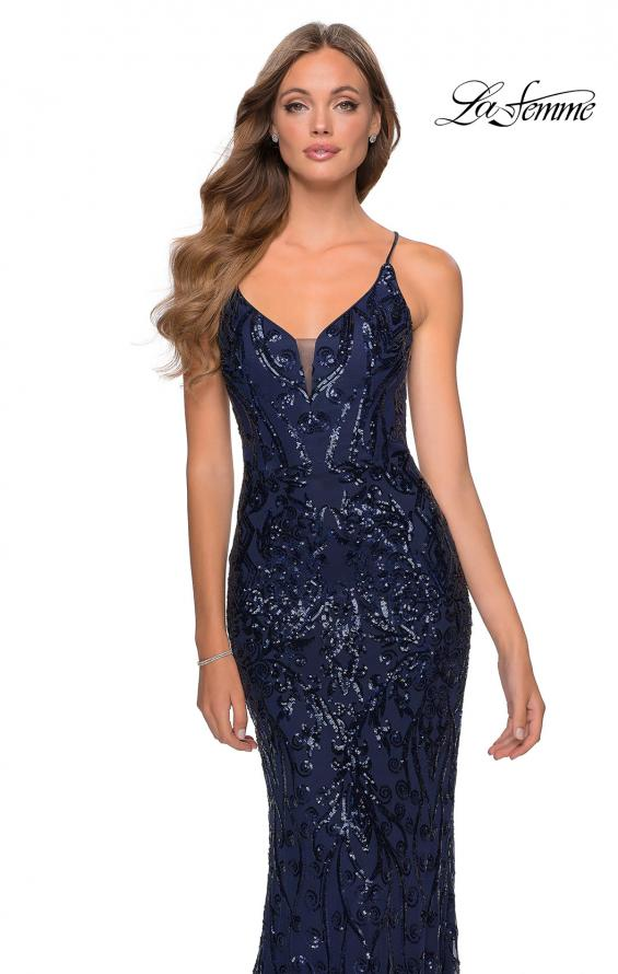 Picture of: Long Prom Dress with Intricate Sequin Lace Design in Navy, Style: 28828, Detail Picture 6