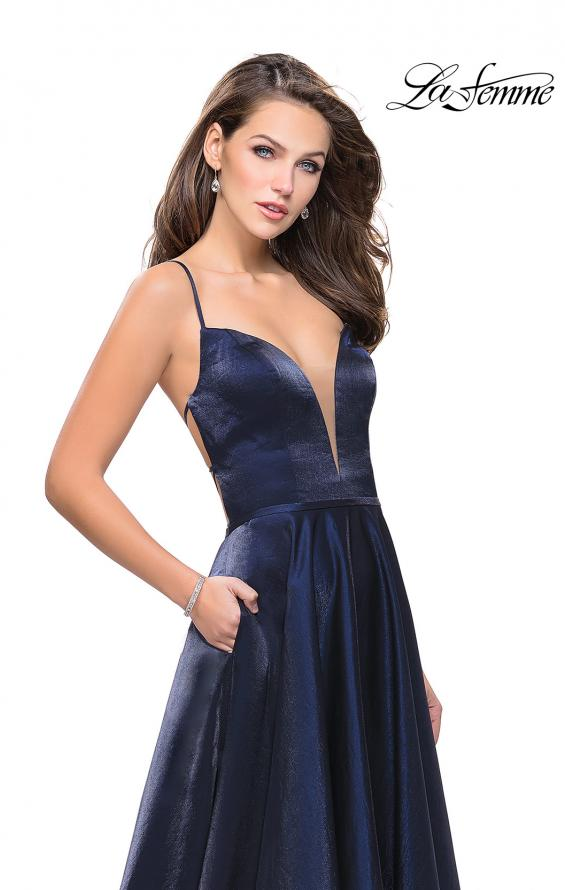 Picture of: Satin A-line Gown with Deep V Sweetheart Neckline in Navy, Style: 25670, Detail Picture 7