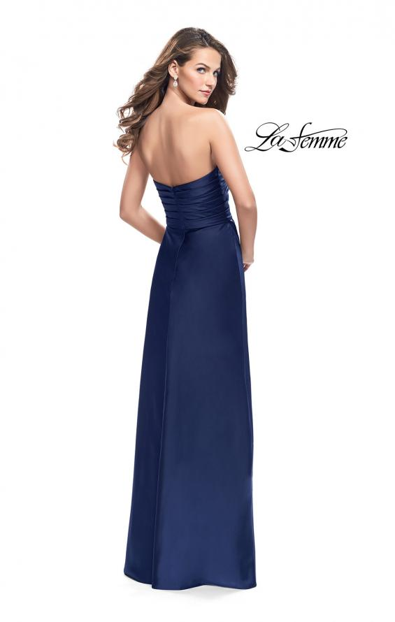Picture of: Long Strapless Satin Prom Dress with Side Ruching, Style: 26017, Detail Picture 7