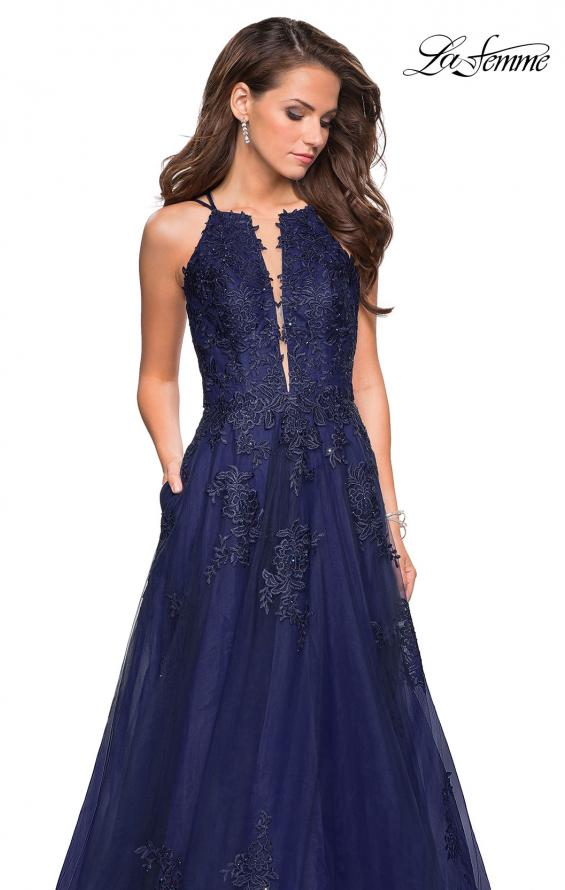 Picture of: Tulle Prom Dress with Lace Bodice and Strappy Back in Navy, Style: 27143, Detail Picture 7