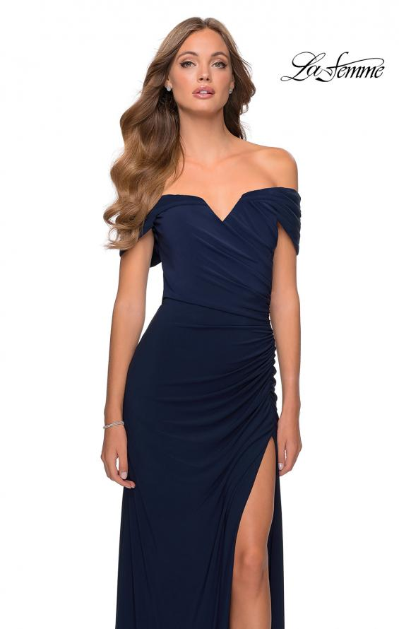 Picture of: Off the Shoulder Fully Ruched Floor Length Gown in Navy, Style: 28389, Detail Picture 7