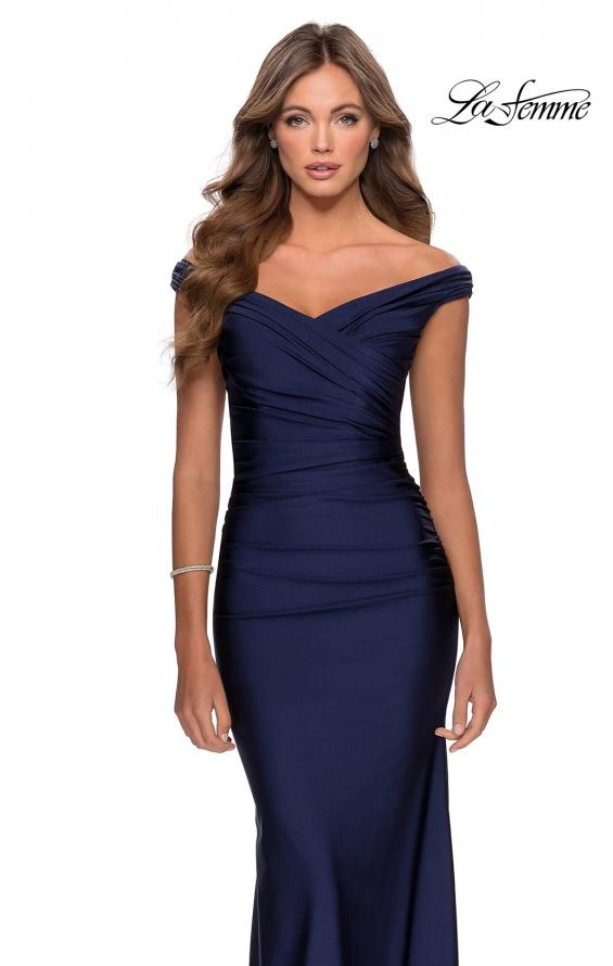 Picture of: Off the Shoulder Prom Dress with Sweetheart Neckline in Navy, Style: 28450, Detail Picture 7