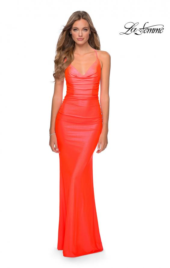 Picture of: Ruched Neon Prom Dress with Criss Cross Tie Back in Neon Coral, Style: 29010, Main Picture