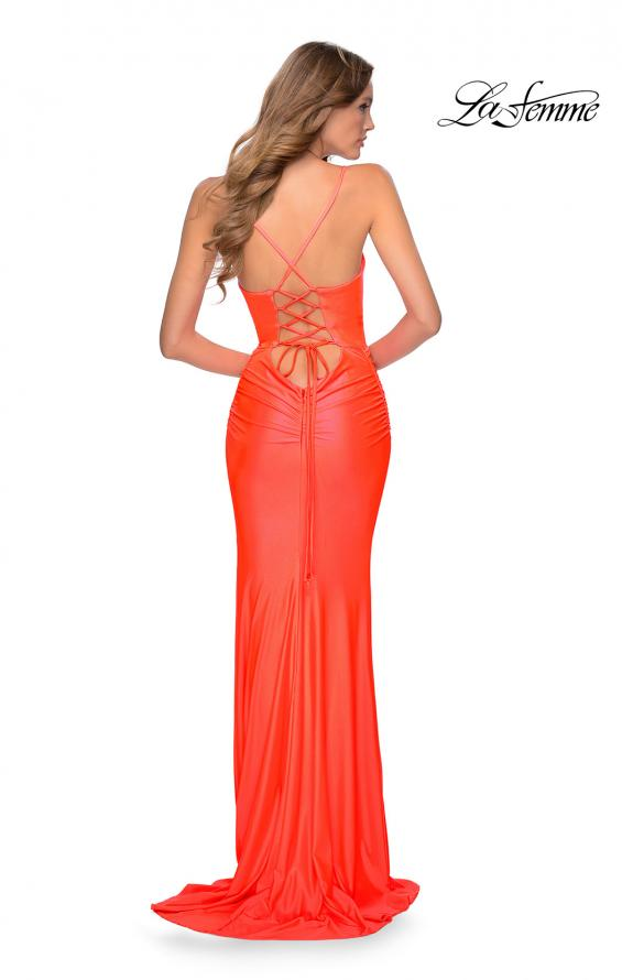 Picture of: Ruched Neon Prom Dress with Criss Cross Tie Back in Neon Coral, Style: 29010, Back Picture