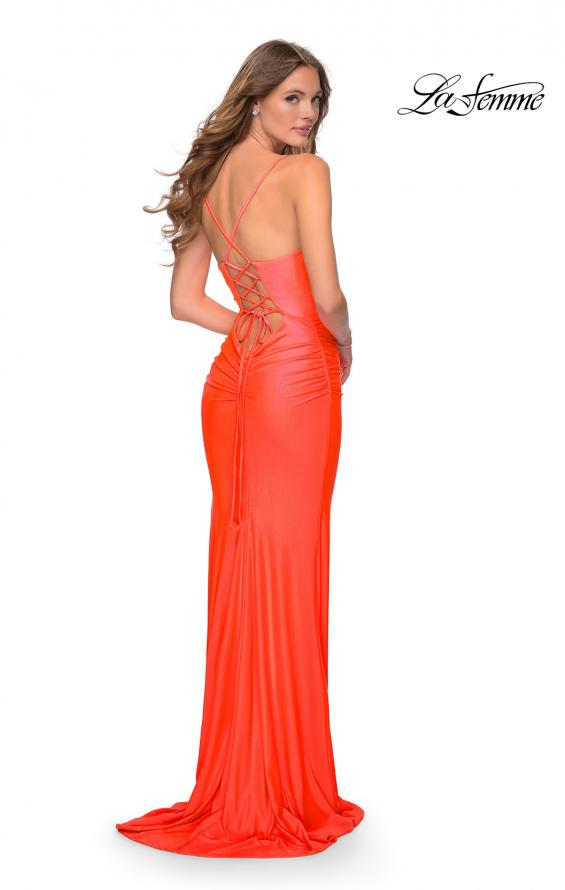 Picture of: Ruched Neon Prom Dress with Criss Cross Tie Back in Neon Coral, Style: 29010, Detail Picture 1