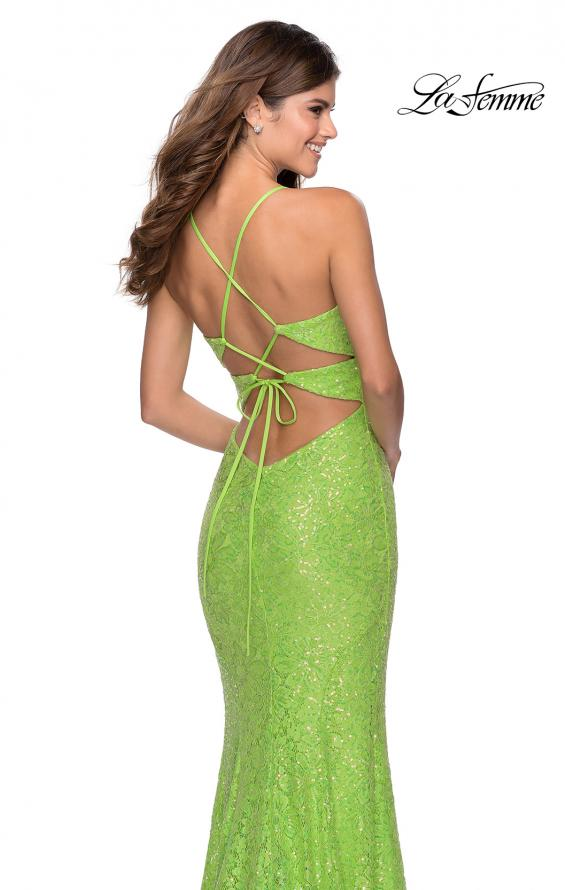 Picture of: Stretch Lace Dress with Lace Up Back and Rhinestones in Neon Green, Style: 28632, Back Picture
