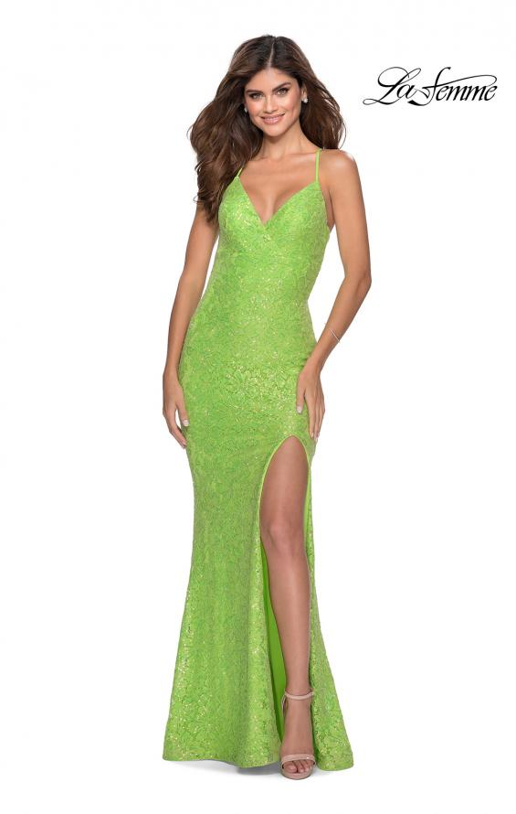 Picture of: Stretch Lace Dress with Lace Up Back and Rhinestones in Neon Green, Style: 28632, Detail Picture 3