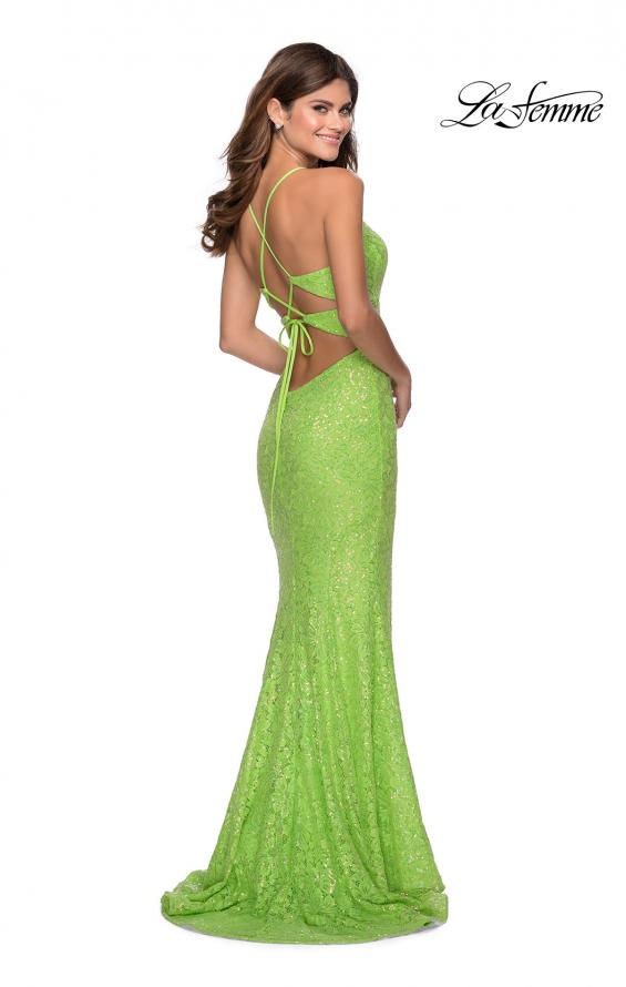 Picture of: Stretch Lace Dress with Lace Up Back and Rhinestones in Neon Green, Style: 28632, Detail Picture 4