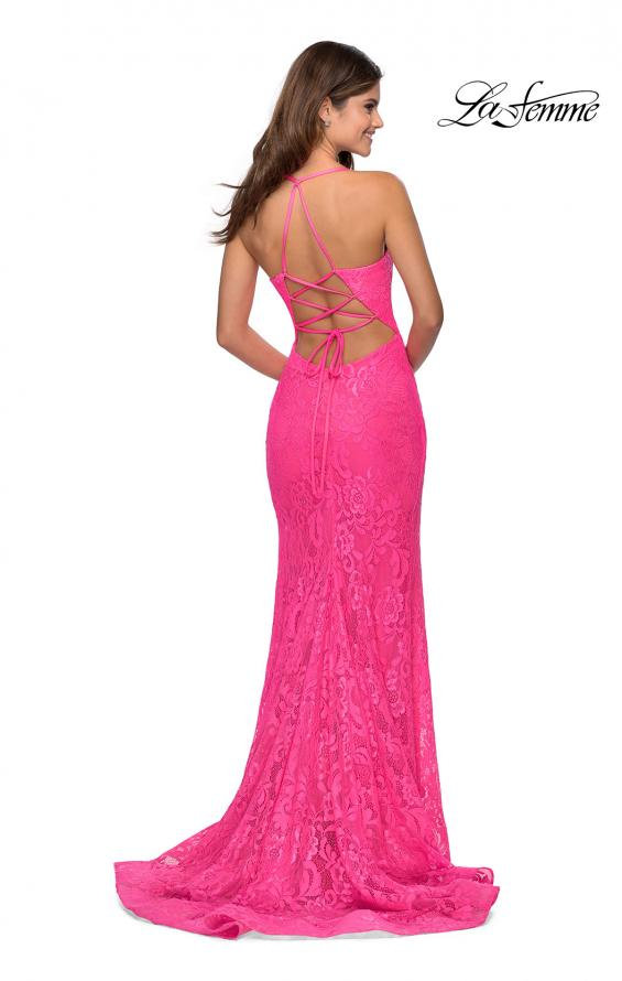 Picture of: Lace Prom Gown with Rhinestones and Tie Up Back in Neon Pink, Style: 28548, Main Picture