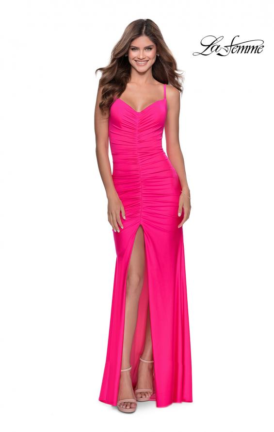 Picture of: Neon Ruched Prom Gown with Center Slit in Neon Pink, Style: 28891, Main Picture