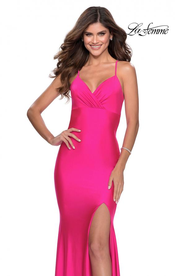 Picture of: Neon Jersey Dress with Ruching and Lace Up Back in Neon Pink, Style: 28993, Main Picture