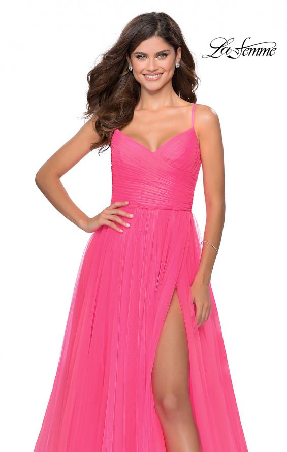 Picture of: Long Tulle Pleated Bodice Prom Gown with Pockets in Neon Pink, Style: 28123, Detail Picture 8