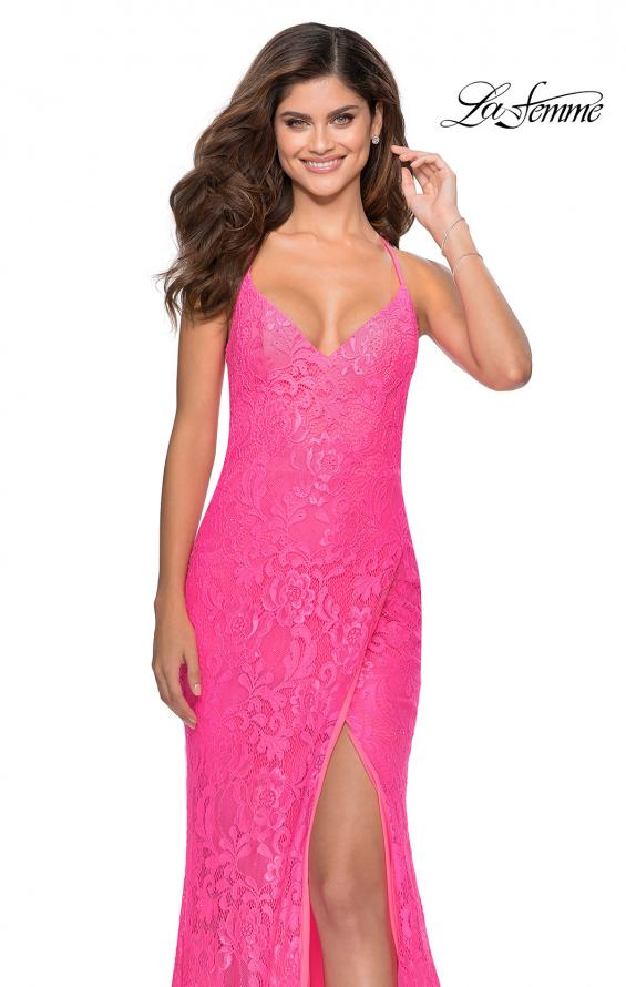 Picture of: Lace Prom Gown with Rhinestones and Tie Up Back in Neon Pink, Style: 28548, Back Picture