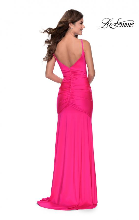 Picture of: Neon Ruched Prom Gown with Center Slit in Neon Pink, Style: 28891, Back Picture