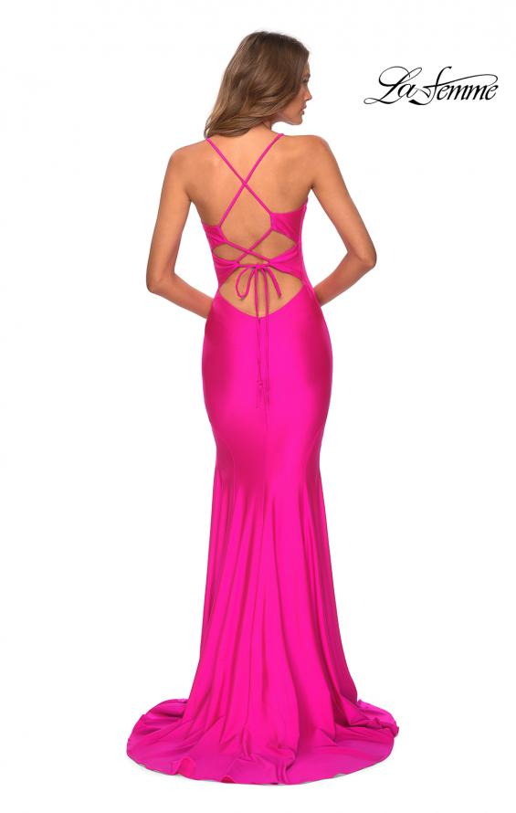 Picture of: Neon Jersey Dress with Ruching and Lace Up Back in Neon Pink, Style: 28993, Back Picture