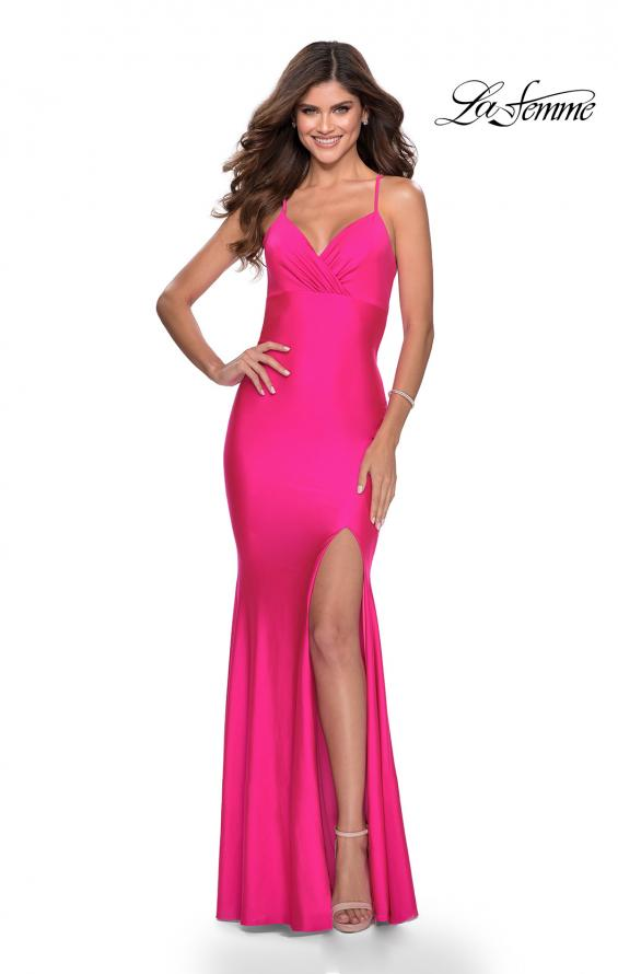 Picture of: Neon Jersey Dress with Ruching and Lace Up Back in Neon Pink, Style: 28993, Detail Picture 2