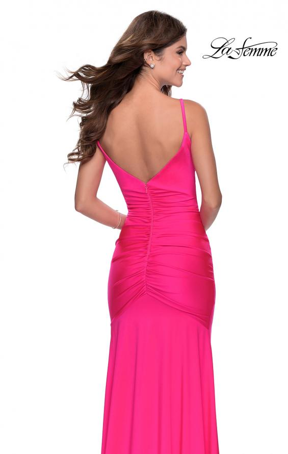Picture of: Neon Ruched Prom Gown with Center Slit in Neon Pink, Style: 28891, Detail Picture 5