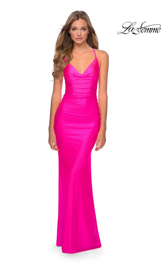 Picture of: Ruched Neon Prom Dress with Criss Cross Tie Back in Neon Pink, Style: 29010, Detail Picture 4