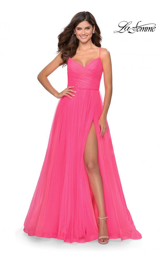 Picture of: Long Tulle Pleated Bodice Prom Gown with Pockets in Neon Pink, Style: 28123, Detail Picture 5