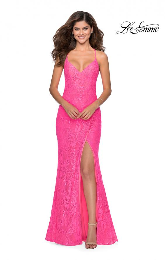 Picture of: Lace Prom Gown with Rhinestones and Tie Up Back in Neon Pink, Style: 28548, Detail Picture 6