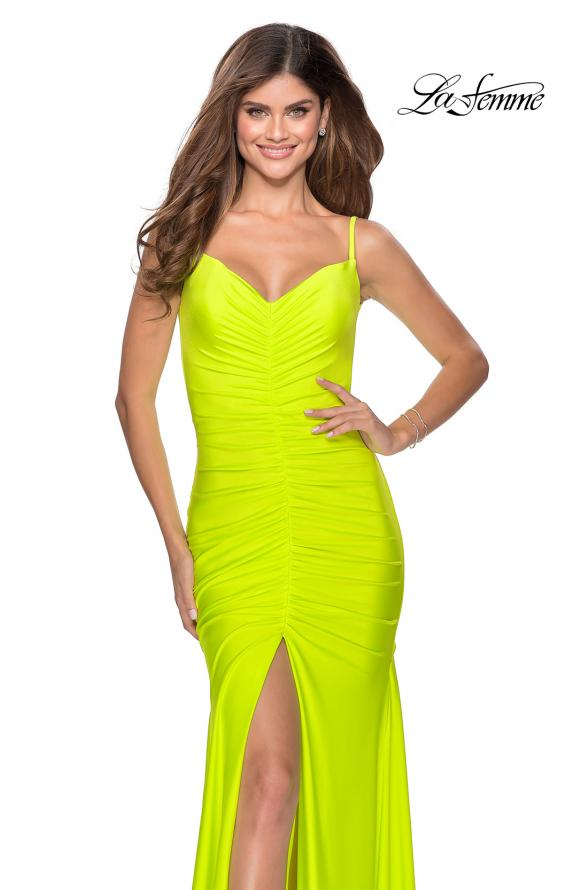 Picture of: Neon Ruched Prom Gown with Center Slit in Neon Yellow, Style: 28891, Detail Picture 1