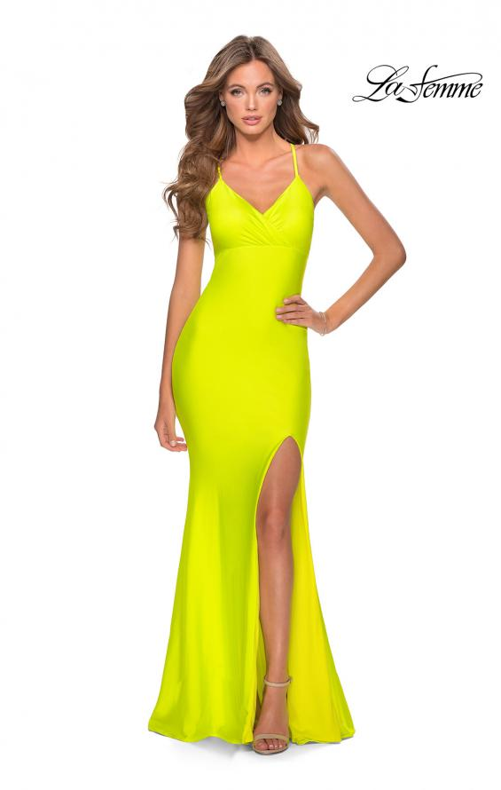 Picture of: Neon Jersey Dress with Ruching and Lace Up Back in Neon Yellow, Style: 28993, Detail Picture 1
