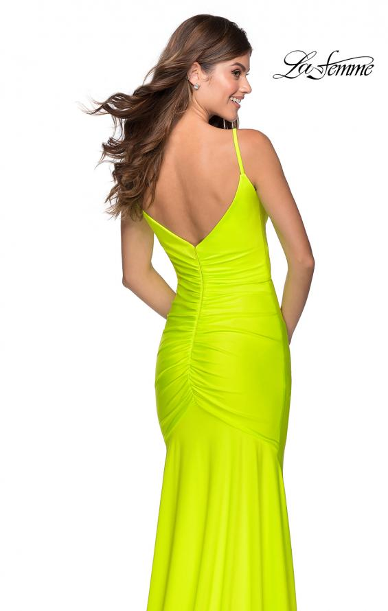Picture of: Neon Ruched Prom Gown with Center Slit in Neon Yellow, Style: 28891, Detail Picture 2