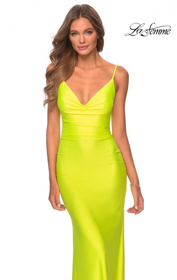 Picture of: Ruched Neon Prom Dress with Criss Cross Tie Back in Neon Yellow, Style: 29010, Detail Picture 2