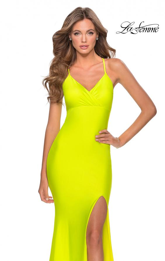 Picture of: Neon Jersey Dress with Ruching and Lace Up Back in Neon Yellow, Style: 28993, Detail Picture 3