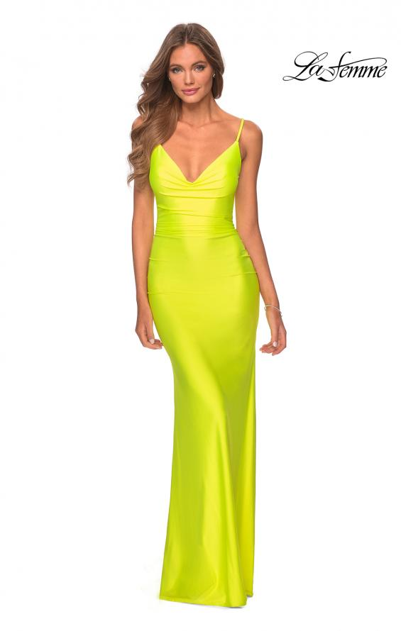 Picture of: Ruched Neon Prom Dress with Criss Cross Tie Back in Neon Yellow, Style: 29010, Detail Picture 3