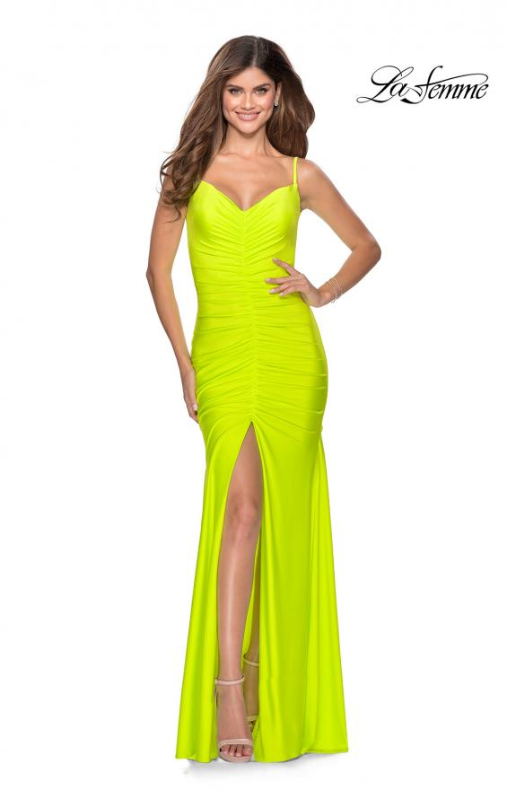 Picture of: Neon Ruched Prom Gown with Center Slit in Neon Yellow, Style: 28891, Detail Picture 5