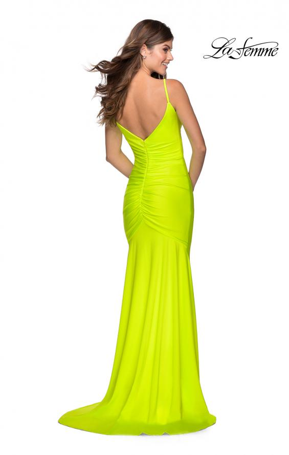 Picture of: Neon Ruched Prom Gown with Center Slit in Neon Yellow, Style: 28891, Detail Picture 6