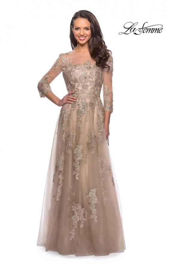 Picture of: Long Lace Dress with Sheer Three Quarter Sleeves in Nude, Style: 27733, Main Picture