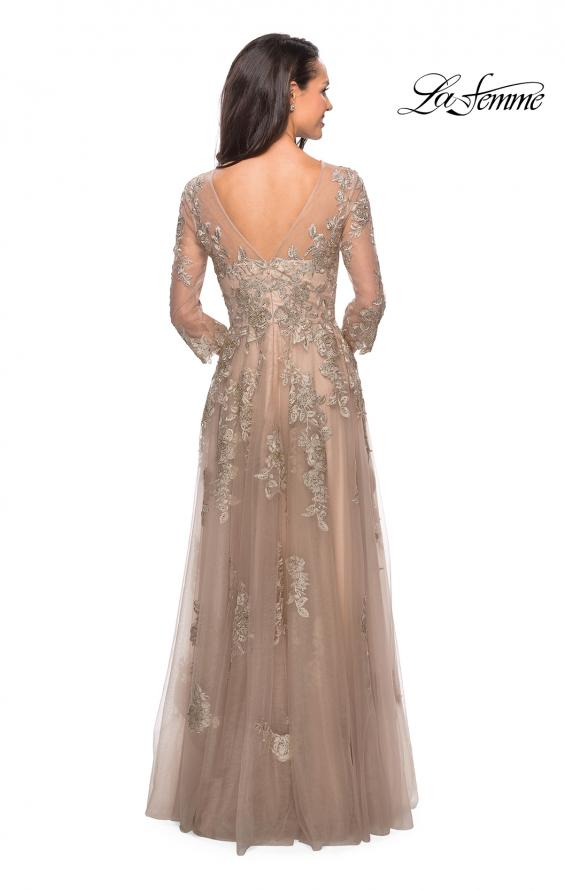 Picture of: Long Lace Dress with Sheer Three Quarter Sleeves in Nude, Style: 27733, Back Picture