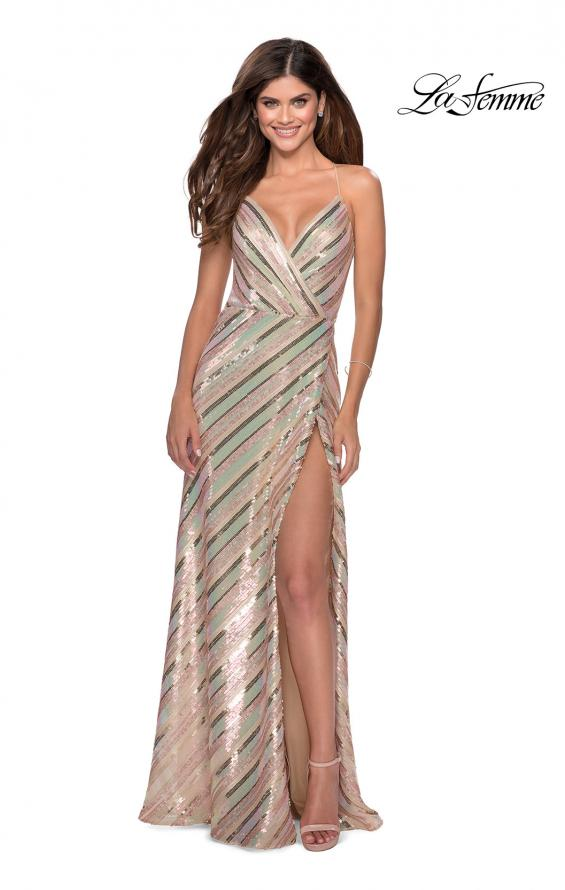Picture of: Multi-Colored Striped Sequin Faux Wrap Prom Dress in Nude, Style: 28717, Main Picture