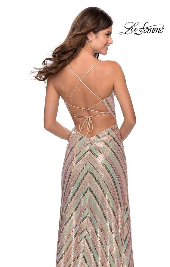 Picture of: Multi-Colored Striped Sequin Faux Wrap Prom Dress in Nude, Style: 28717, Back Picture