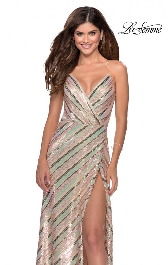 Picture of: Multi-Colored Striped Sequin Faux Wrap Prom Dress in Nude, Style: 28717, Detail Picture 2
