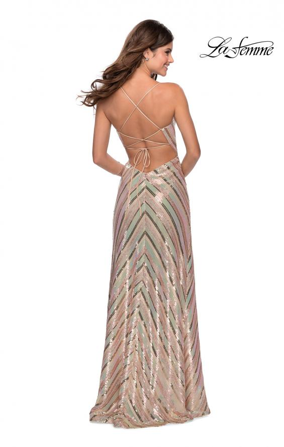 Picture of: Multi-Colored Striped Sequin Faux Wrap Prom Dress in Nude, Style: 28717, Detail Picture 3