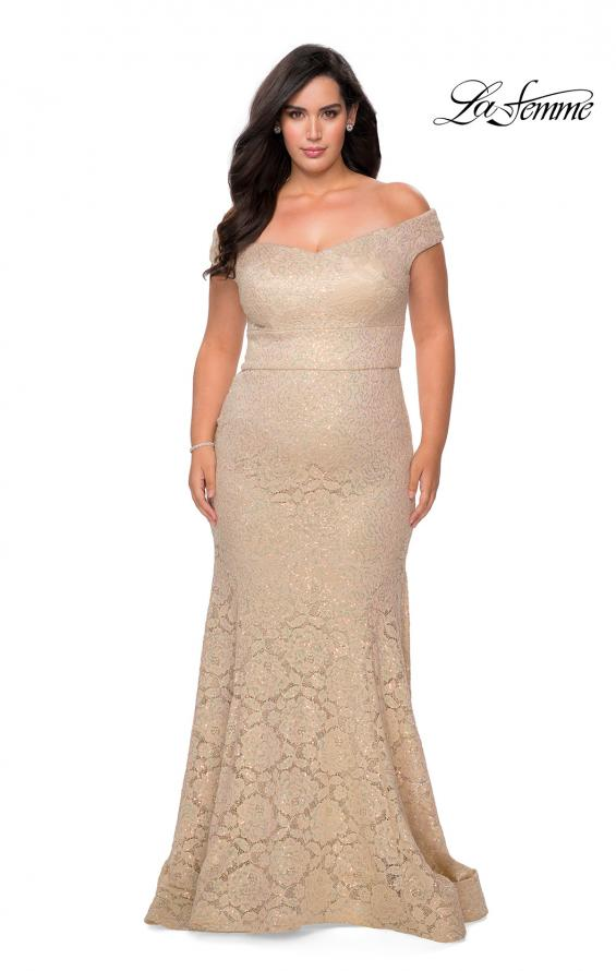 Picture of: Off the Shoulder Lace Plus Dress with Defined Waist in Nude, Style: 28883, Detail Picture 6