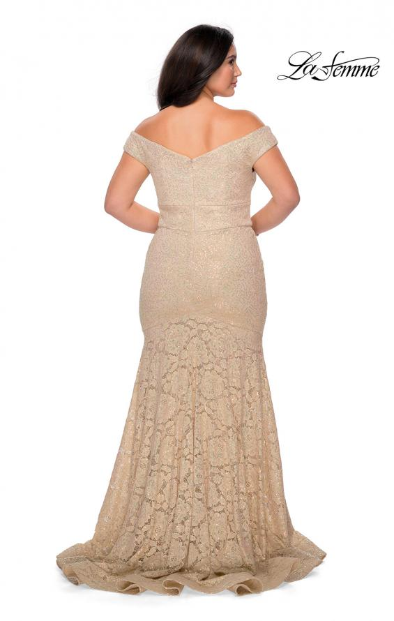 Picture of: Off the Shoulder Lace Plus Dress with Defined Waist in Nude, Style: 28883, Detail Picture 7