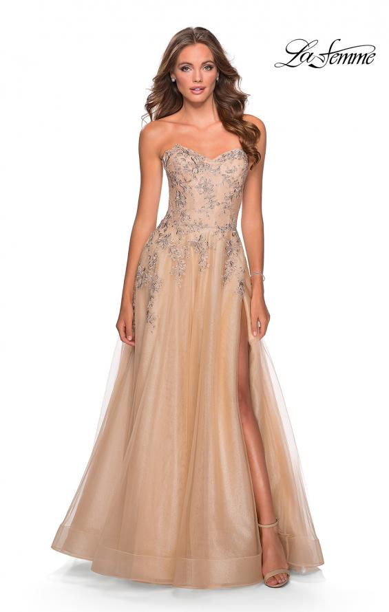Picture of: Strapless Tulle Dress with Cascading Floral Detail in Nude, Style: 28599, Main Picture