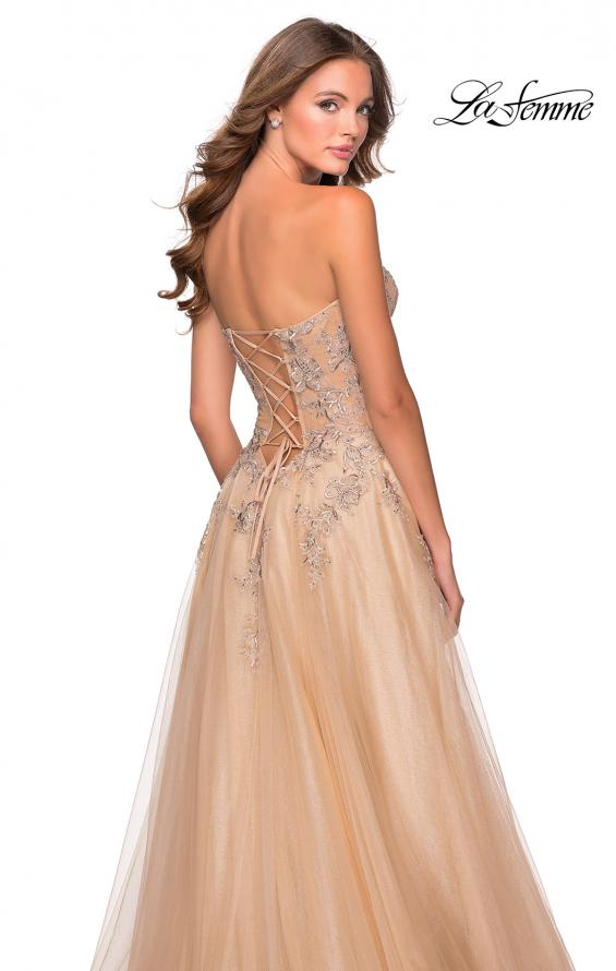 Picture of: Strapless Tulle Dress with Cascading Floral Detail in Nude, Style: 28599, Back Picture