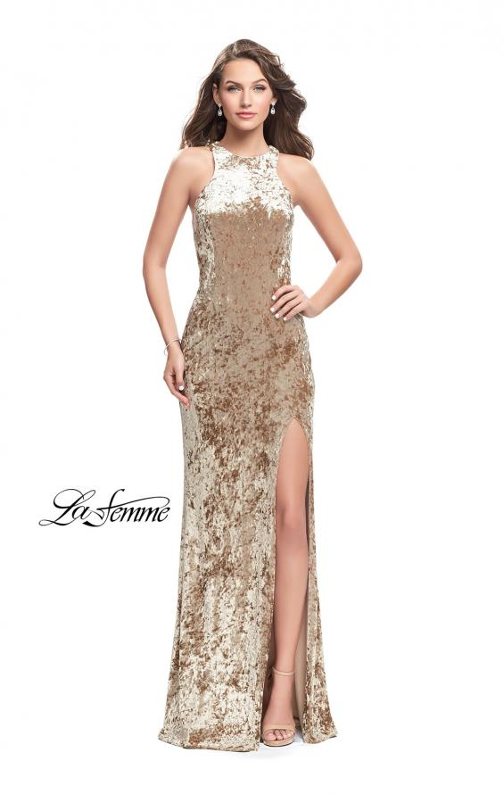 Picture of: Crushed Velvet Prom Dress with High Neckline and Leg Slit in Nude, Style: 25734, Detail Picture 1