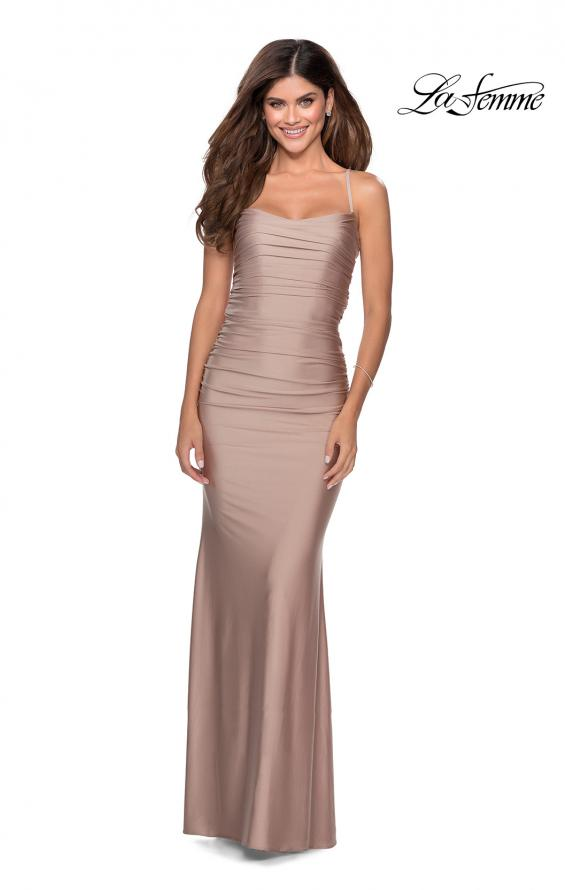 Picture of: Long Ruched Jersey Prom Dress with Thin Straps in Nude, Style: 28398, Detail Picture 1