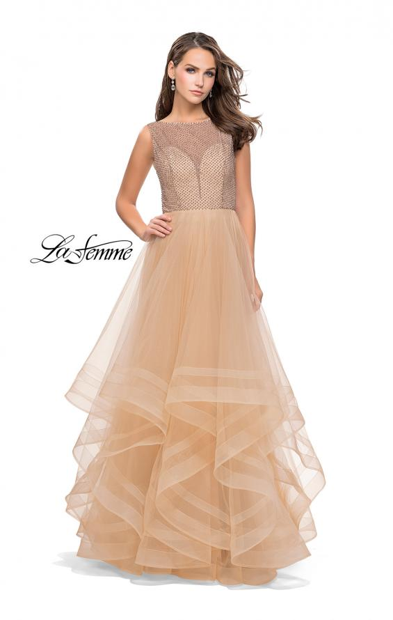 Picture of: Ball Gown with Ruffle Tulle Skirt and Beading, Style: 25620, Detail Picture 2